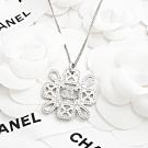 CHANEL 新款花造型鏤空鑲水鑽雙C LOGO項鍊 (銀色)