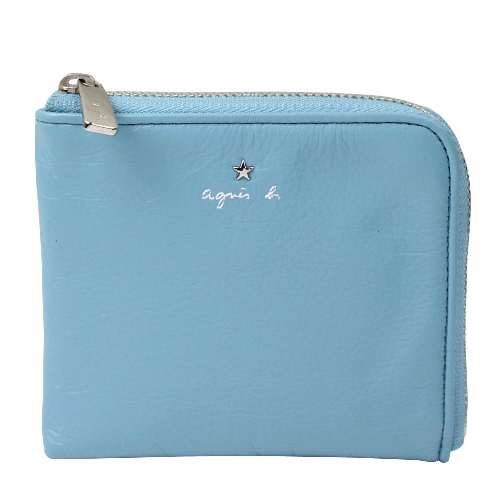 agnes b.VOYAGE 星星LOGO草寫字母皮革L型拉鍊卡夾零錢包(水藍) @ Y!購物