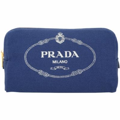 PRADA Canvas 牛仔帆布三角化妝包(藍色)