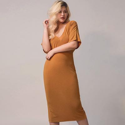 AIR SPACE PLUS 優雅扭結開衩棉質洋裝(黃棕)