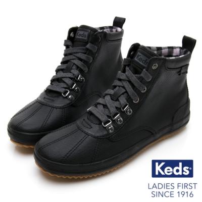 Keds SCOUT BOOT 華麗斜紋布綁帶休閒防潑水靴-黑