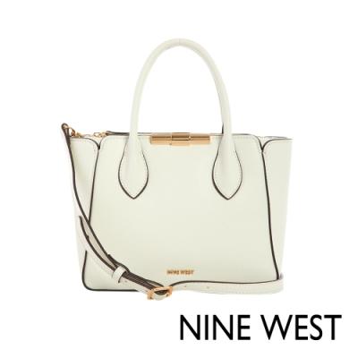 NINE WEST HOLLIS金屬釦中型手提包-純白(116605)