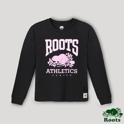 Roots女裝- RBA 原創翻玩系列 經典LOGO長袖T恤-黑色