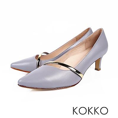 KOKKO - 歲月靜好真皮金屬尖頭高跟鞋-鏡灰藍