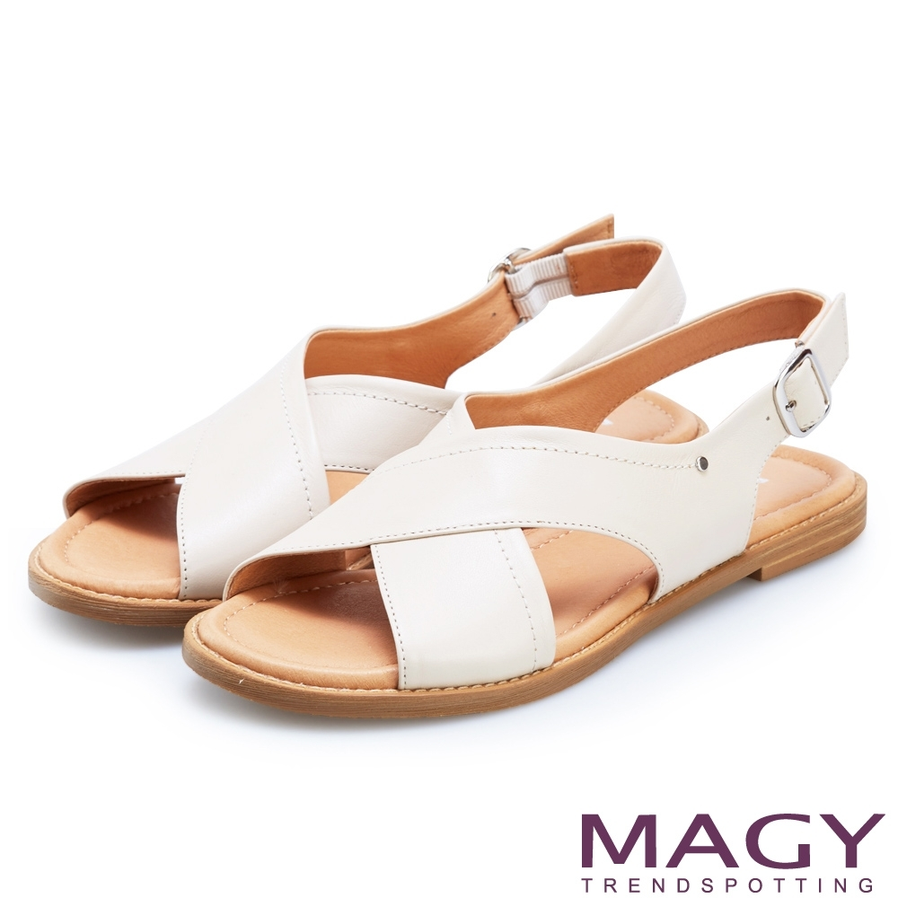 MAGY 造型交叉牛皮舒適平底涼鞋 米色
