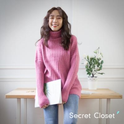 Secret Closet-慵懶寬鬆高領針織毛衣