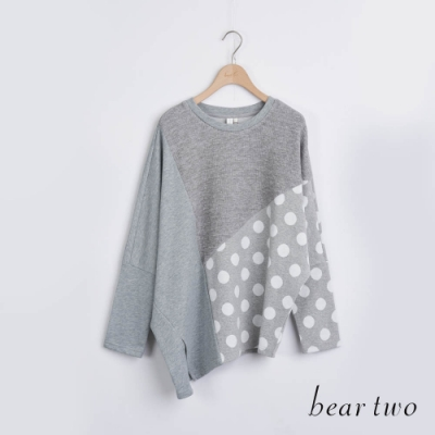 bear two- 拼接點點造型長上衣 - 灰