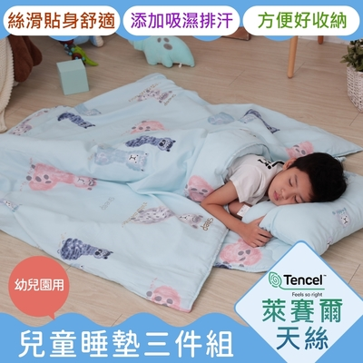 Leafbaby 幼兒園專用絲滑天絲兒童睡墊三件組 微笑羊駝