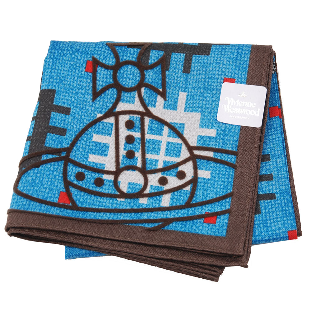 VIVIENNE WESTWOOD 幾何圖騰品牌行星LOGO帕領巾(藍色系)