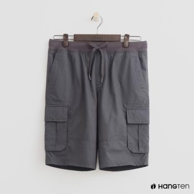 Hang Ten - 男裝 - 綁帶造型口袋棉質短褲-灰