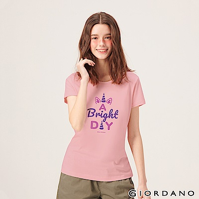 GIORDANO 女裝夢幻獨角獸系列印花T恤-12 女郎粉