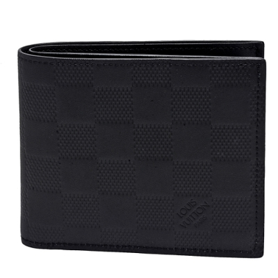LV N63334經典MARCO系列Damier Infini皮革零錢袋摺疊短夾(黑)