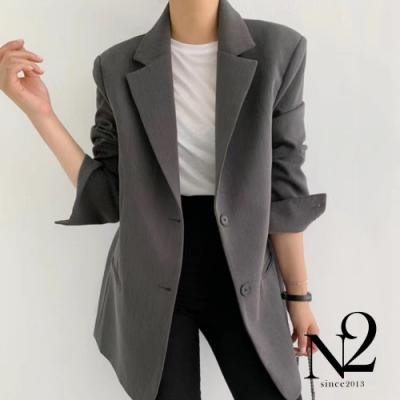 外套 正韓經典款翻領兩釦西裝外套(灰)N2