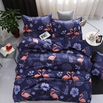 Grace Life 雙人 親膚棉感活性印染枕套床包三件組-火烈鳥