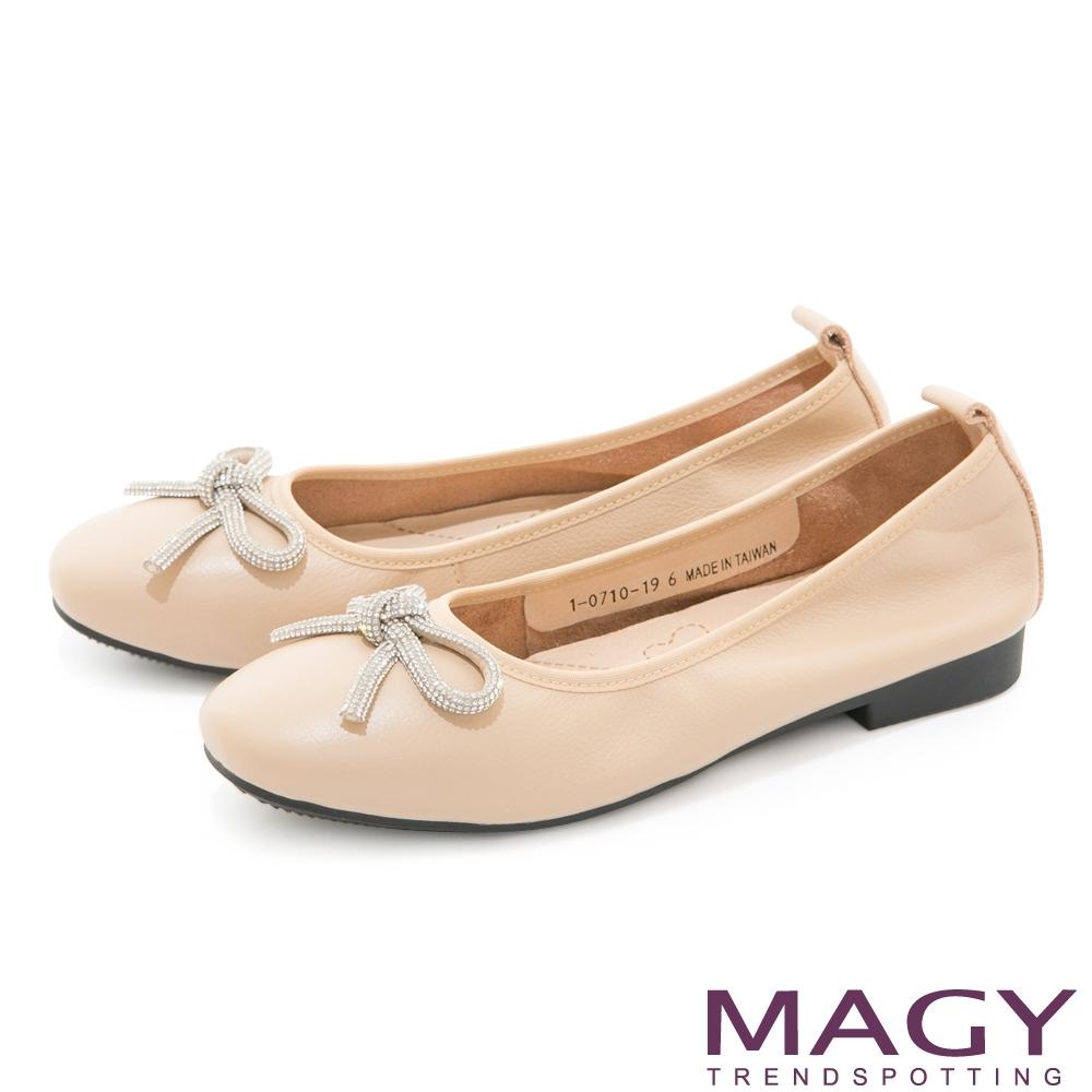 MAGY 耀眼水鑽蝴蝶結真皮 女 平底鞋 杏色