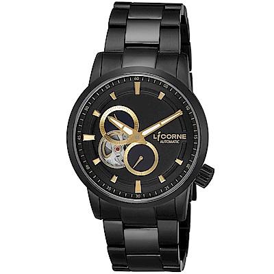 LICORNE 力抗錶 淬鍊系列 機械腕錶 黑×金/41mm