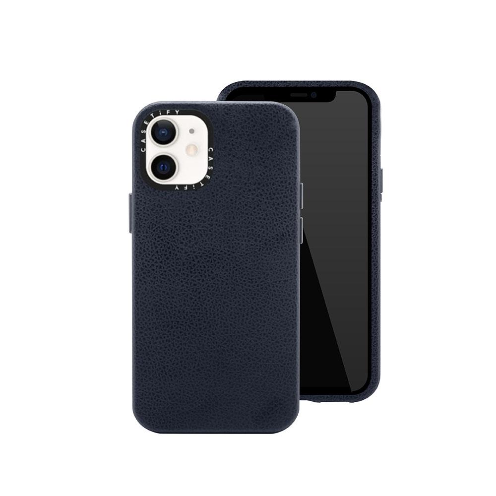 Casetify iPhone 12 mini 純素皮革保護殼-海軍藍