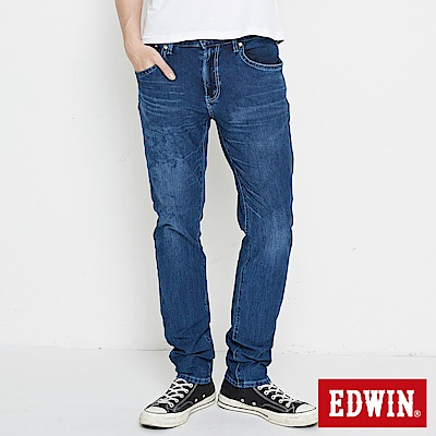 EDWIN 大尺碼迦績褲 不對稱刷色窄直筒牛仔褲-男-酵洗藍