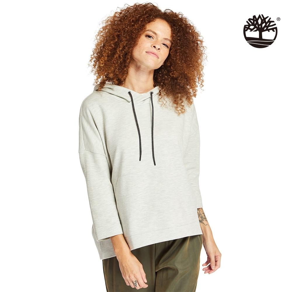 Timberland 女款中灰色休閒七分袖連帽上衣|B5802