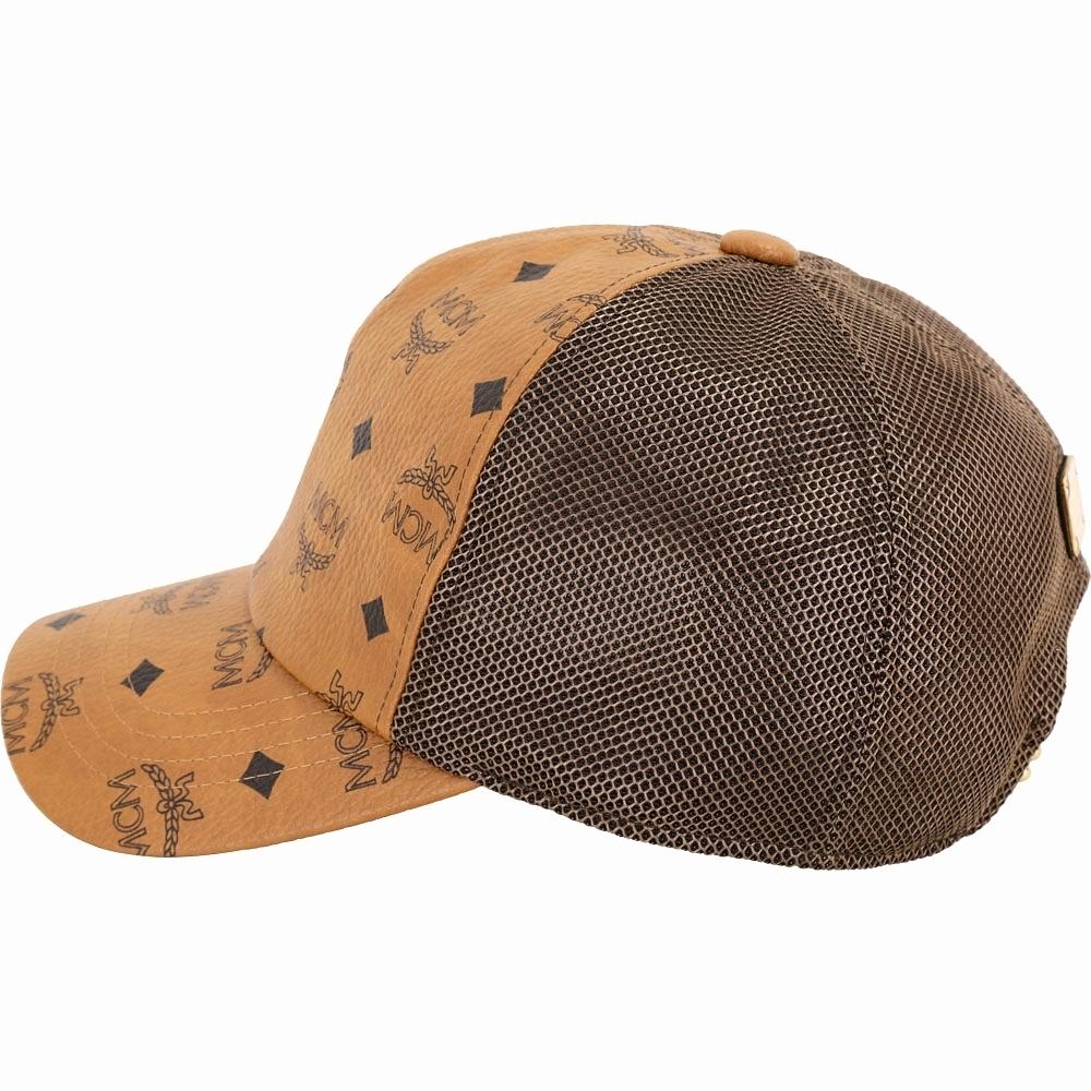 MCM Visetos 印花塗層帆布拼接網眼棒球帽(白蘭地色)