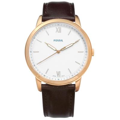 FOSSIL 復古美學輕薄簡約羅馬刻度日本機芯真皮手錶-銀白x玫瑰金框x深棕色/44mm
