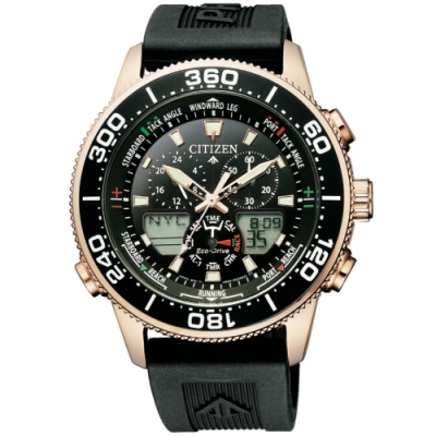 CITIZEN星辰 PROMASTER限量光動能三眼計時萬年曆手錶(JR4063-12E)