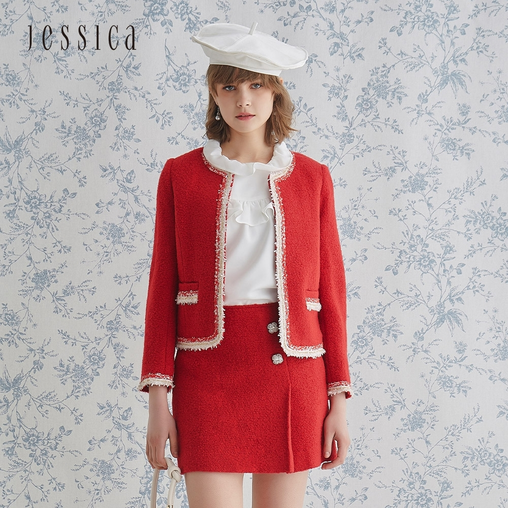 JESSICA - 紅色經典優雅鑲邊小香風花呢圓領羊毛外套