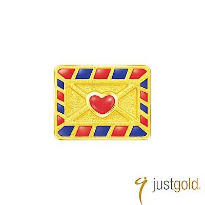 鎮金店Just Gold Hello Kitty 旅行家純金系列 黃金單耳耳環-信封