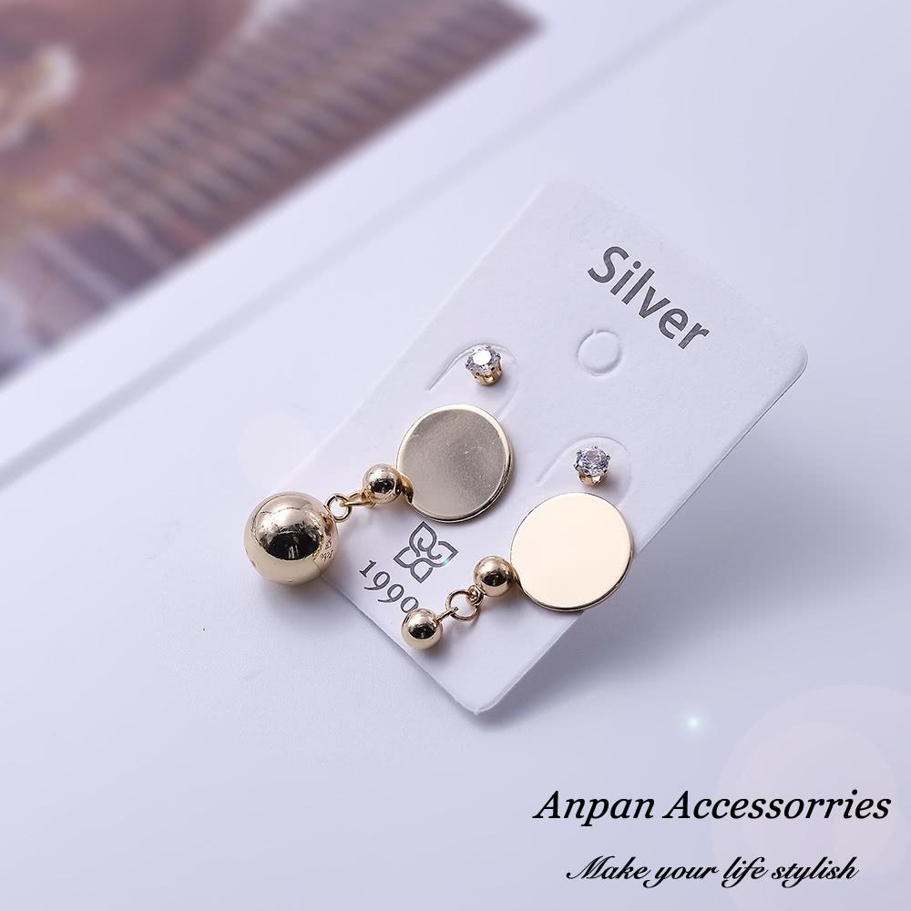 【3件51折】ANPAN愛扮韓東大門CHIC風幾何圓形耳釘式耳環套組-金