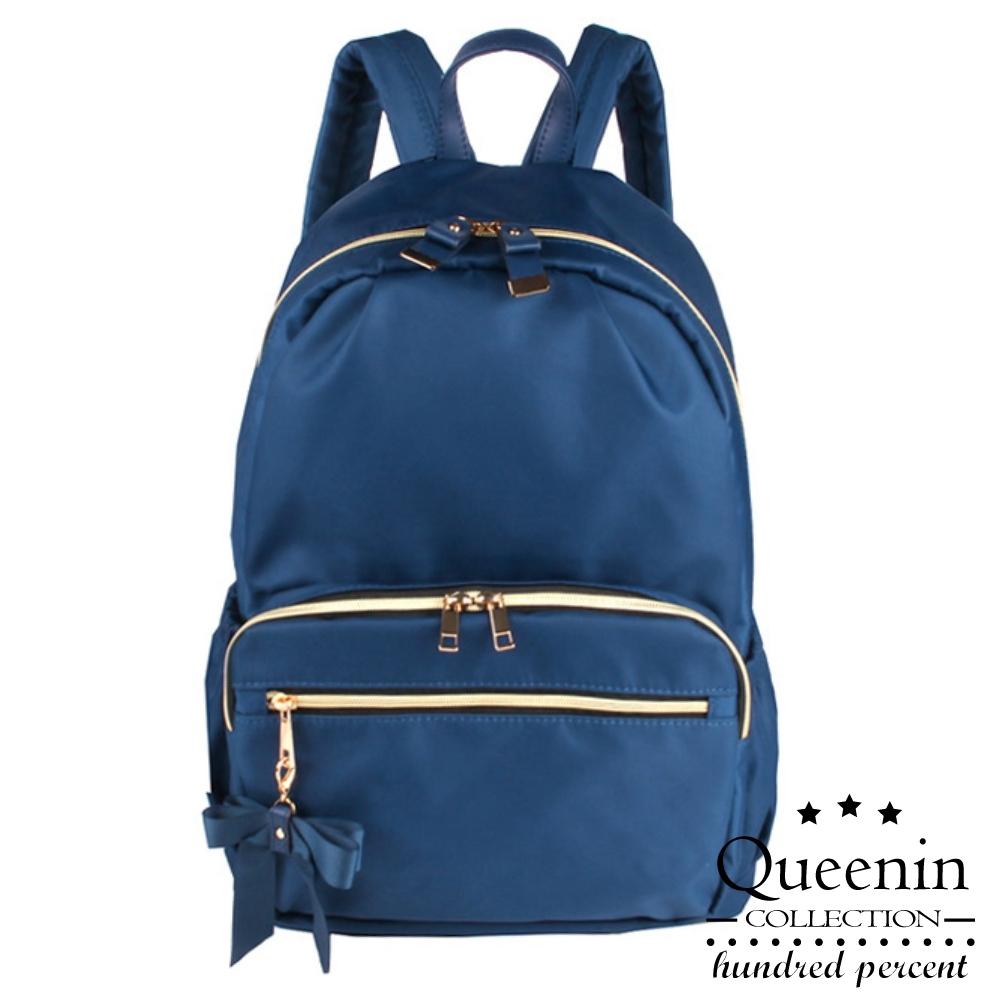 DF Queenin日韓 - 日系浪漫小巧蝴蝶結防潑水後背包-共3色
