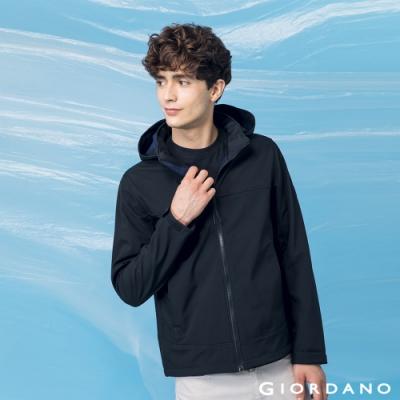 GIORDANO 男裝高機能可拆式連帽外套 - 09 標誌黑