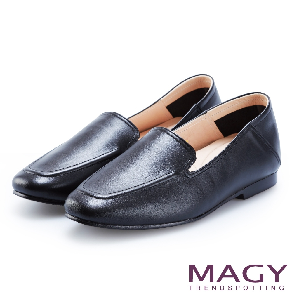 MAGY 經典英倫 嚴選牛皮素面平底樂福鞋-黑色