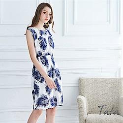 鬆緊腰無袖夏日風情洋裝 共二色 TATA