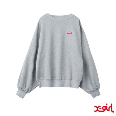 X-girl BIG SLEEVE SWEAT TOP長袖T恤-淺灰