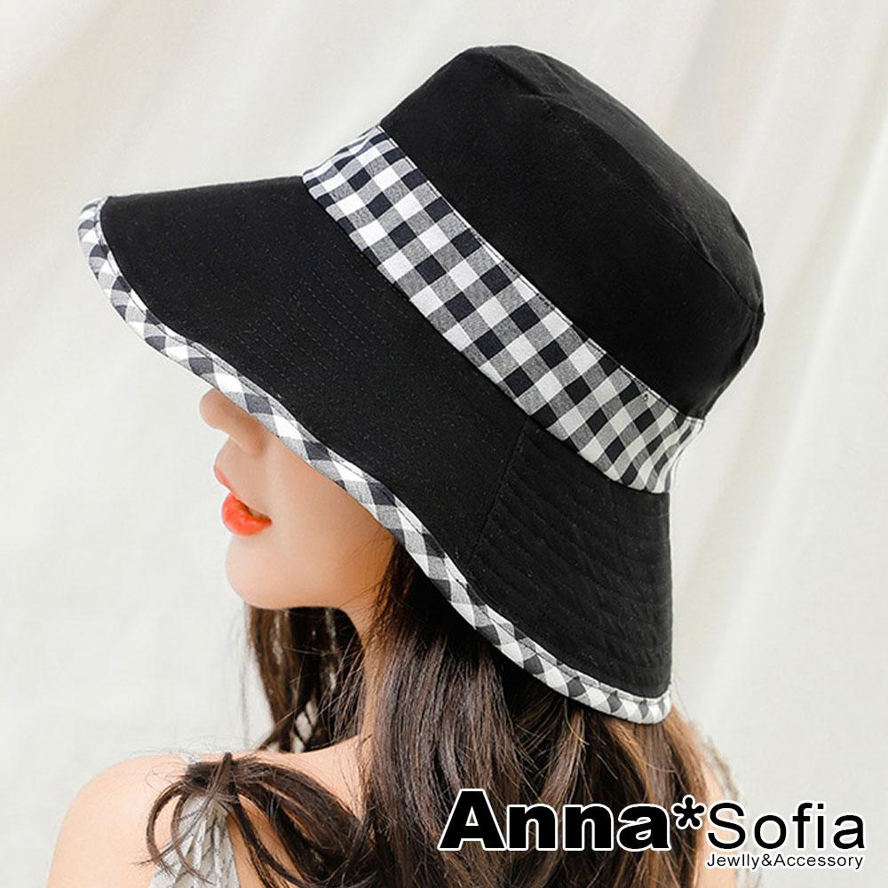 【滿額再75折】AnnaSofia 學院風格帶滾邊 防曬遮陽漁夫盆帽(黑系)