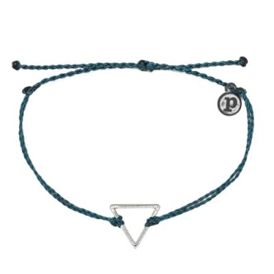 Pura Vida 美國手工 銀色三角形 地中海綠臘線衝浪手鍊手環