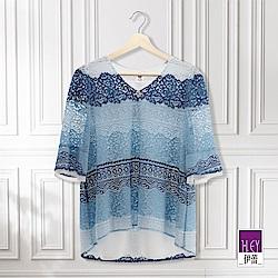 ILEY伊蕾 五分袖三色縷空蕾絲上衣(藍)