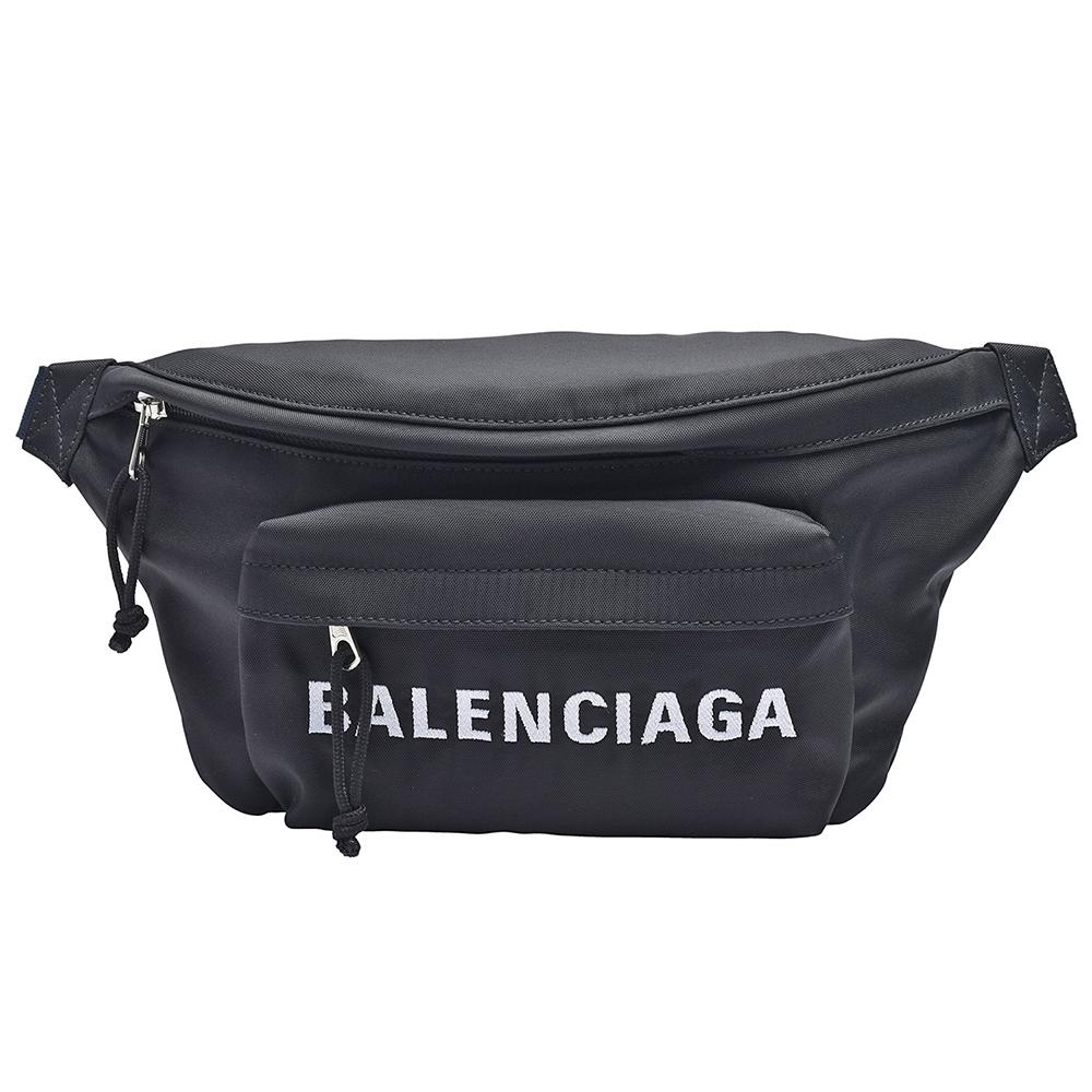 BALENCIAGA WHEEL BELTPACK品牌字母尼龍腰包(黑)