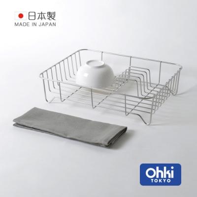 日本大木金屬 Outline 日製究極鏤線18-8不鏽鋼餐具瀝水籃(附純棉麻吸水墊)