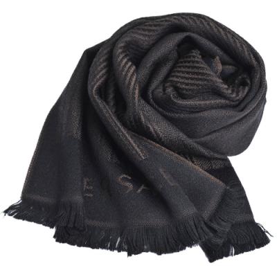 VERSACE 義大利製字母LOGO直紋圖騰羊毛披肩圍巾(咖啡/黑)