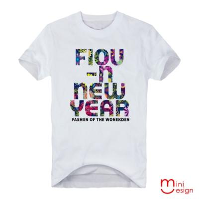 (男款)繁花NEW YEAR潮流設計短T 三色-Minidesign
