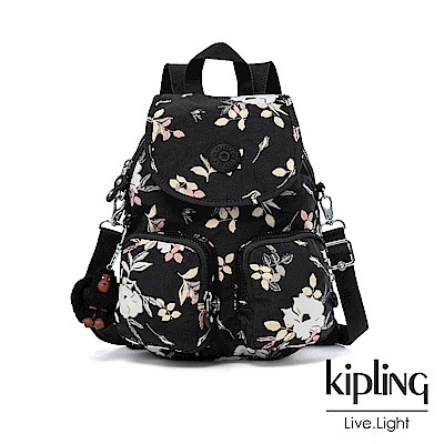 Kipling 沉靜黑浪漫花卉掀蓋後背包-FIREFLY UP
