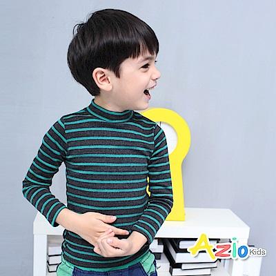 Azio Kids 上衣 磨毛條紋長袖保暖衣(綠)