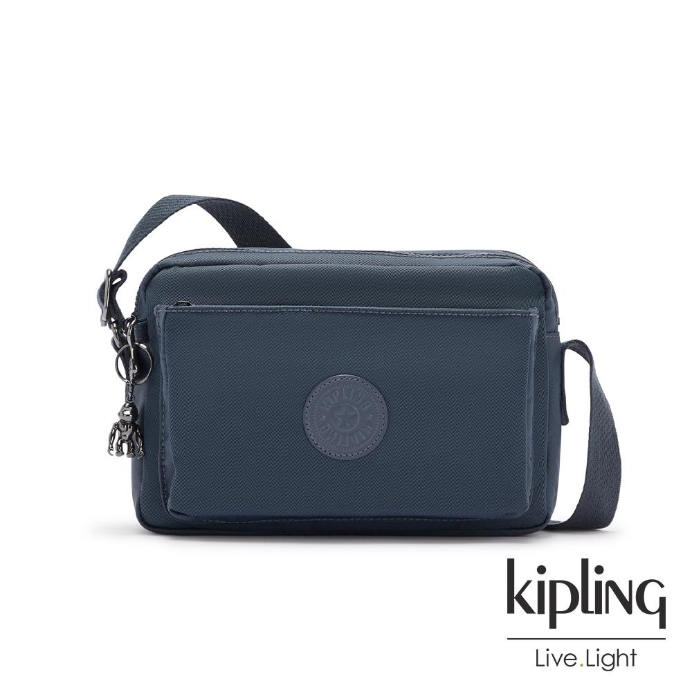 Kipling 質感都市藍灰色多層隨身斜背包-ABANU M