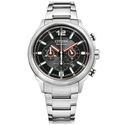 CITIZEN 星辰表 光動能計時碼錶日期防水100米不鏽鋼手錶-黑色/43mm