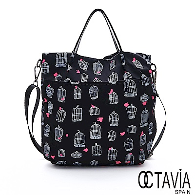 OCTAVIA 8 - 小幫手III 彩繪尼龍進化版A4手提肩背包 - 圖案黑