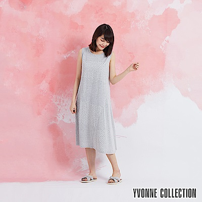 YVONNE 圓點拼接無袖洋裝-淺灰