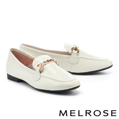 低跟鞋 MELROSE 復古時尚金屬鏈條全真皮樂福低跟鞋-灰
