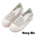Hong Wa 羅莉塔雕花沖孔牛皮樂福鞋 - 米