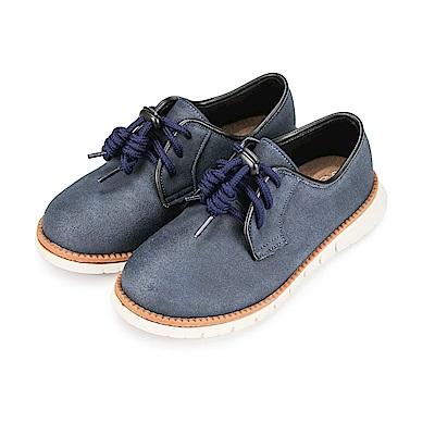 BuyGlasses 獨特風尚麂皮童休閒鞋-藍